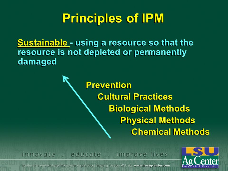 Principles of IPM Sustainable - using a resource so that the resource is not depleted or permanently damaged Prevention Cultural Practices Biological Methods Physical Methods Chemical Methods Sustainable - using a resource so that the resource is not depleted or permanently damaged Prevention Cultural Practices Biological Methods Physical Methods Chemical Methods