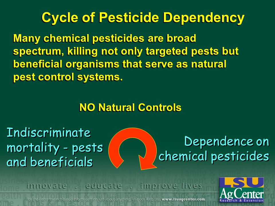 Chemicals Choose least harmful pesticides.
