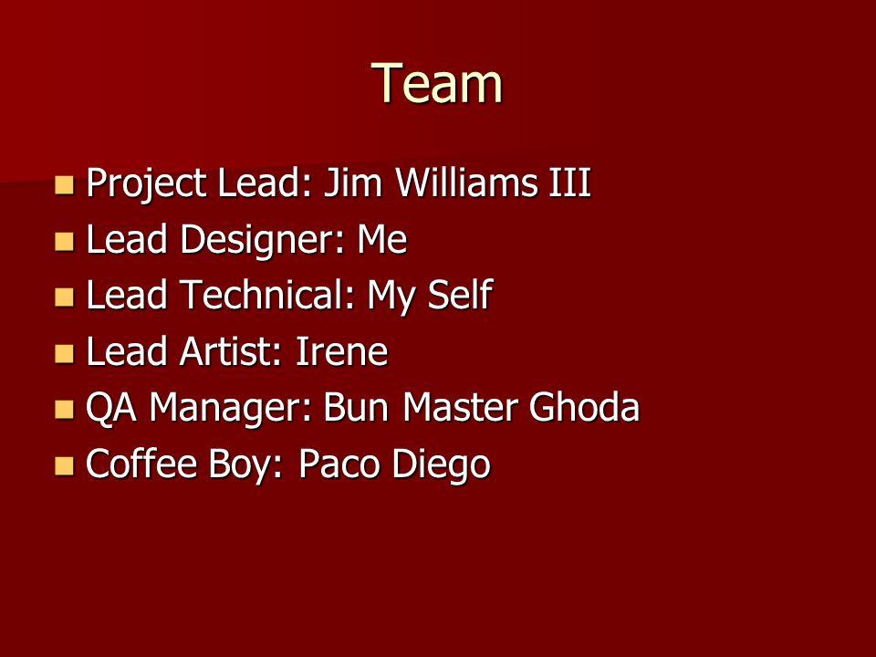 Team Project Lead: Jim Williams III Project Lead: Jim Williams III Lead Designer: Me Lead Designer: Me Lead Technical: My Self Lead Technical: My Self