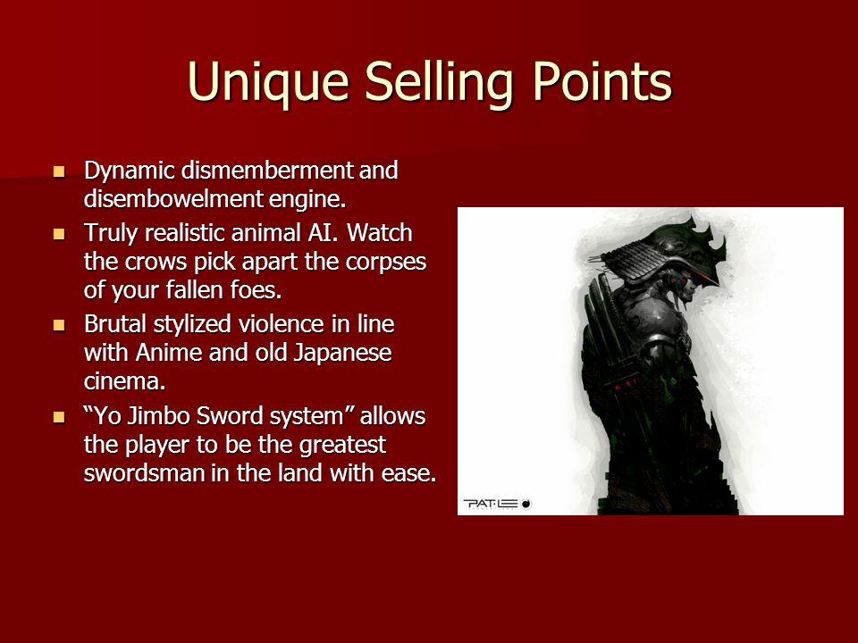 Unique Selling Points Dynamic dismemberment and disembowelment engine. Dynamic dismemberment and disembowelment engine. Truly realistic animal AI. Wat