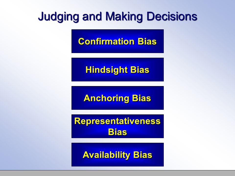 Judging and Making Decisions Confirmation Bias Hindsight Bias Anchoring Bias Representativeness Bias Availability Bias