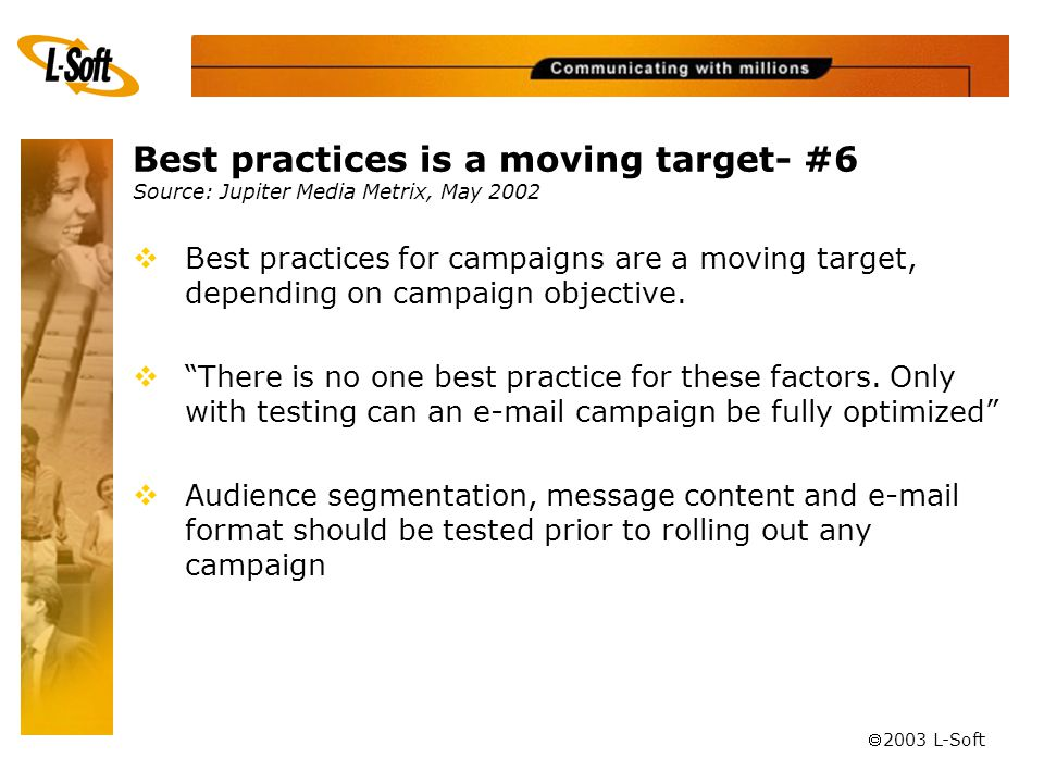 ã 2003 L-Soft Best practices is a moving target- #6 Source: Jupiter Media Metrix, May 2002  Best practices for campaigns are a moving target, depending on campaign objective.