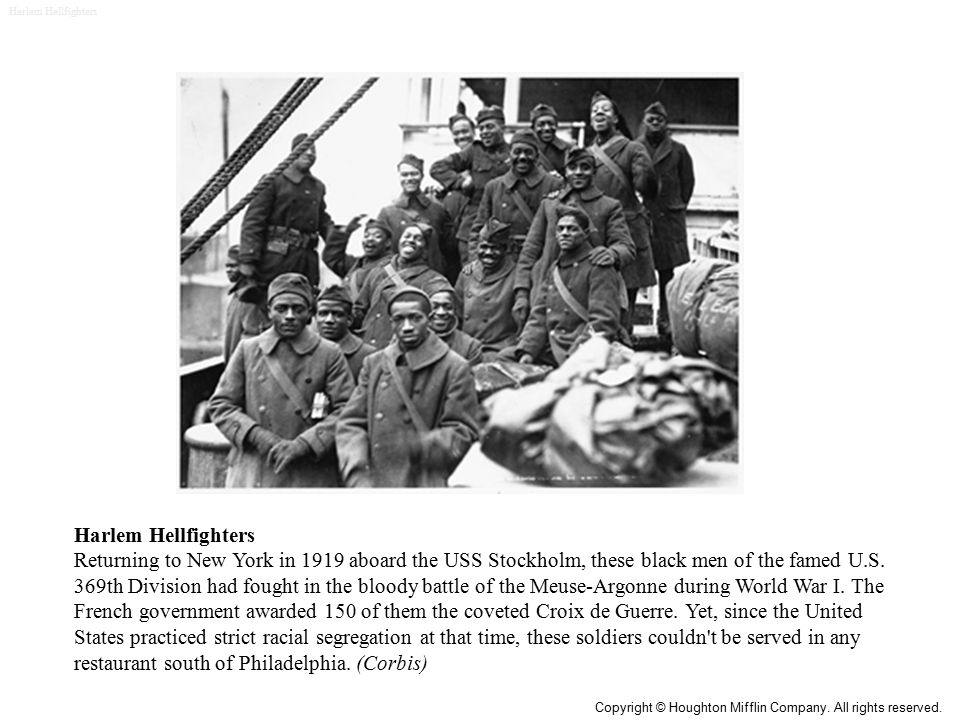 Harlem Hellfighters Returning to New York in 1919 aboard the USS Stockholm, these black men of the famed U.S.