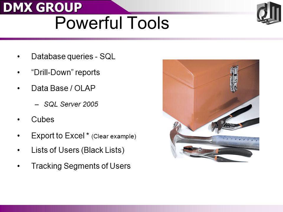 """DMX GROUP Database queries - SQL """"Drill-Down"""" reports Data Base / OLAP –SQL Server 2005 Cubes Export to Excel * (Clear example) Lists of Users (Black"""