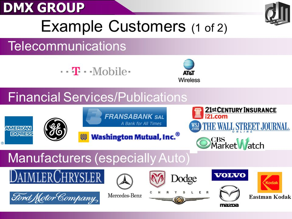DMX GROUP Example Customers (2 of 2) Retailers Media & Portals Technology