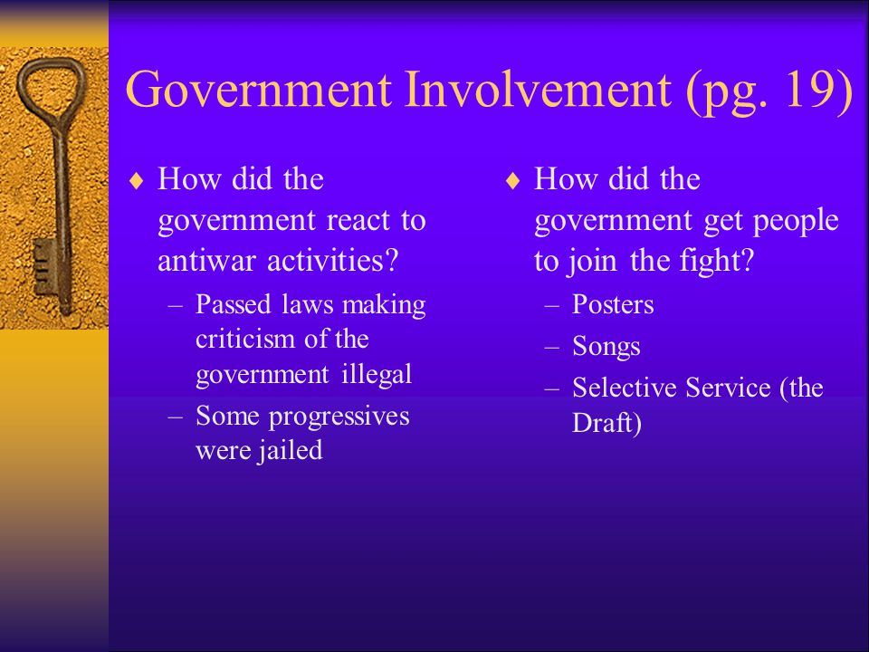 Government Involvement (pg.19)  How did the United States raise money to fight the war.