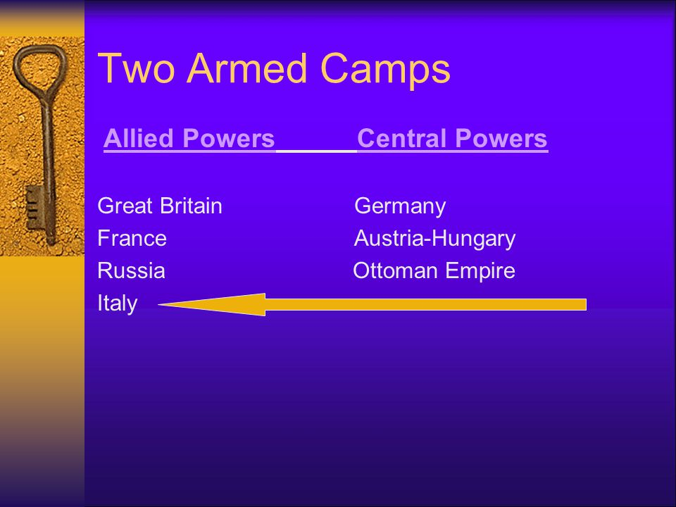 The Alliance System Triple Entente Triple Alliance  Great Britain Germany  France Austria- Hungary  Russia Italy