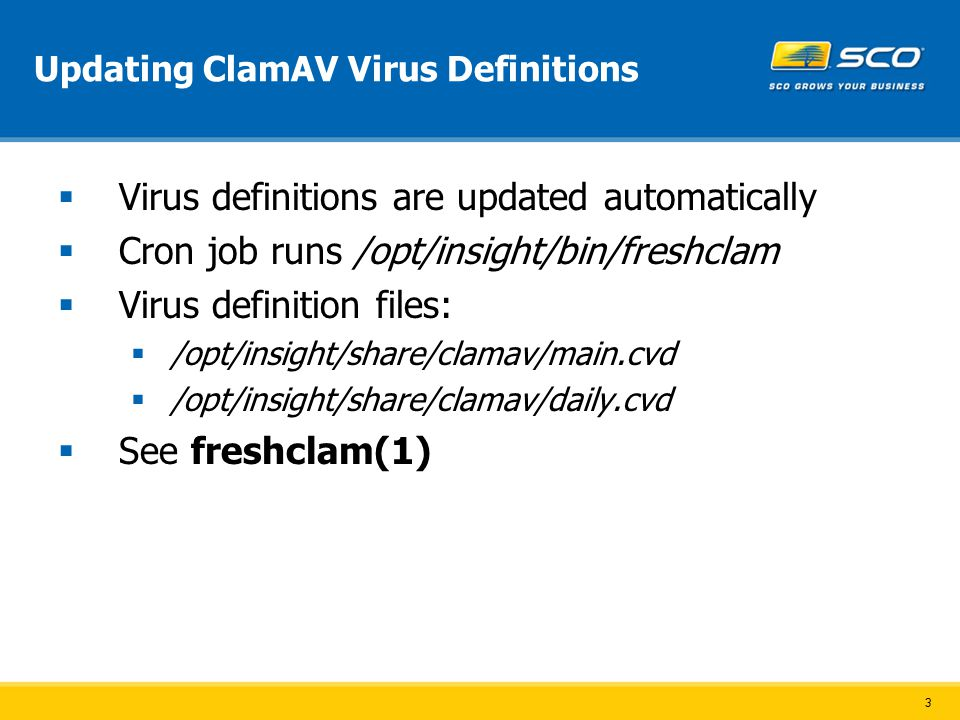 3 Updating ClamAV Virus Definitions  Virus definitions are updated automatically  Cron job runs /opt/insight/bin/freshclam  Virus definition files:  /opt/insight/share/clamav/main.cvd  /opt/insight/share/clamav/daily.cvd  See freshclam(1)
