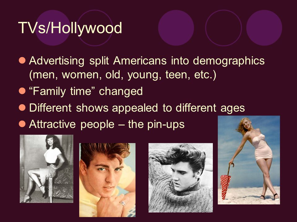 TVs/Hollywood Advertising split Americans into demographics (men, women, old, young, teen, etc.) Family time changed Different shows appealed to different ages Attractive people – the pin-ups