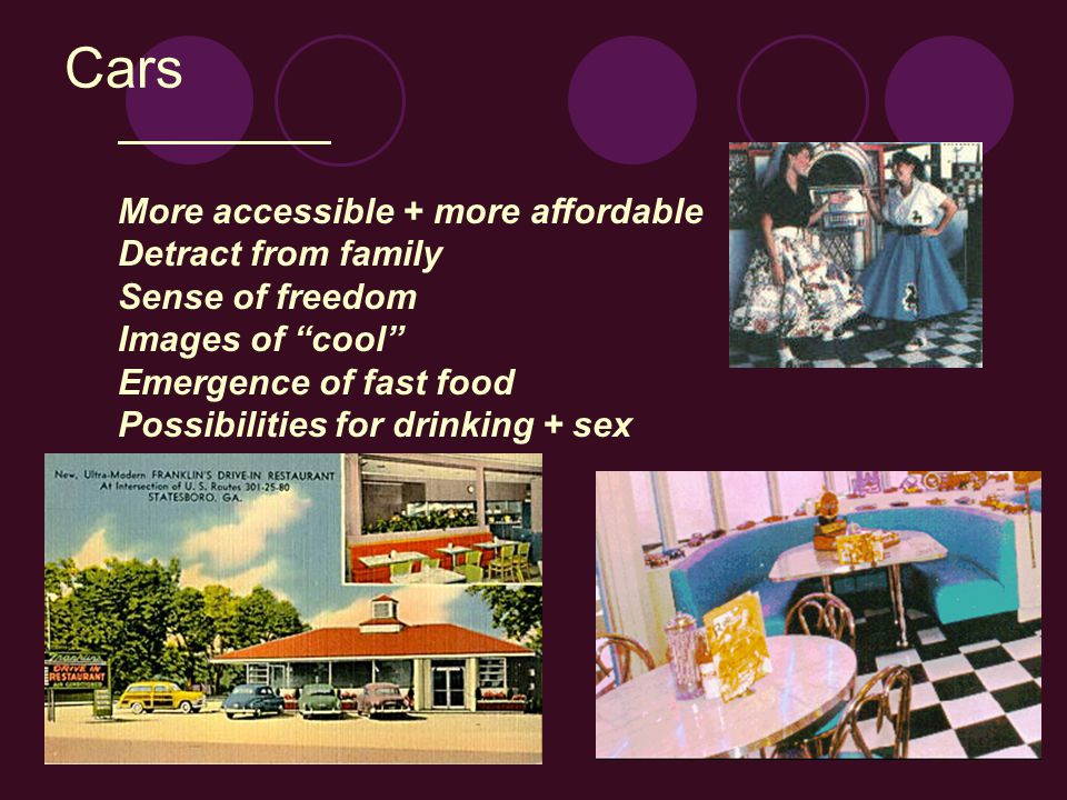 Cars More accessible + more affordable Detract from family Sense of freedom Images of cool Emergence of fast food Possibilities for drinking + sex