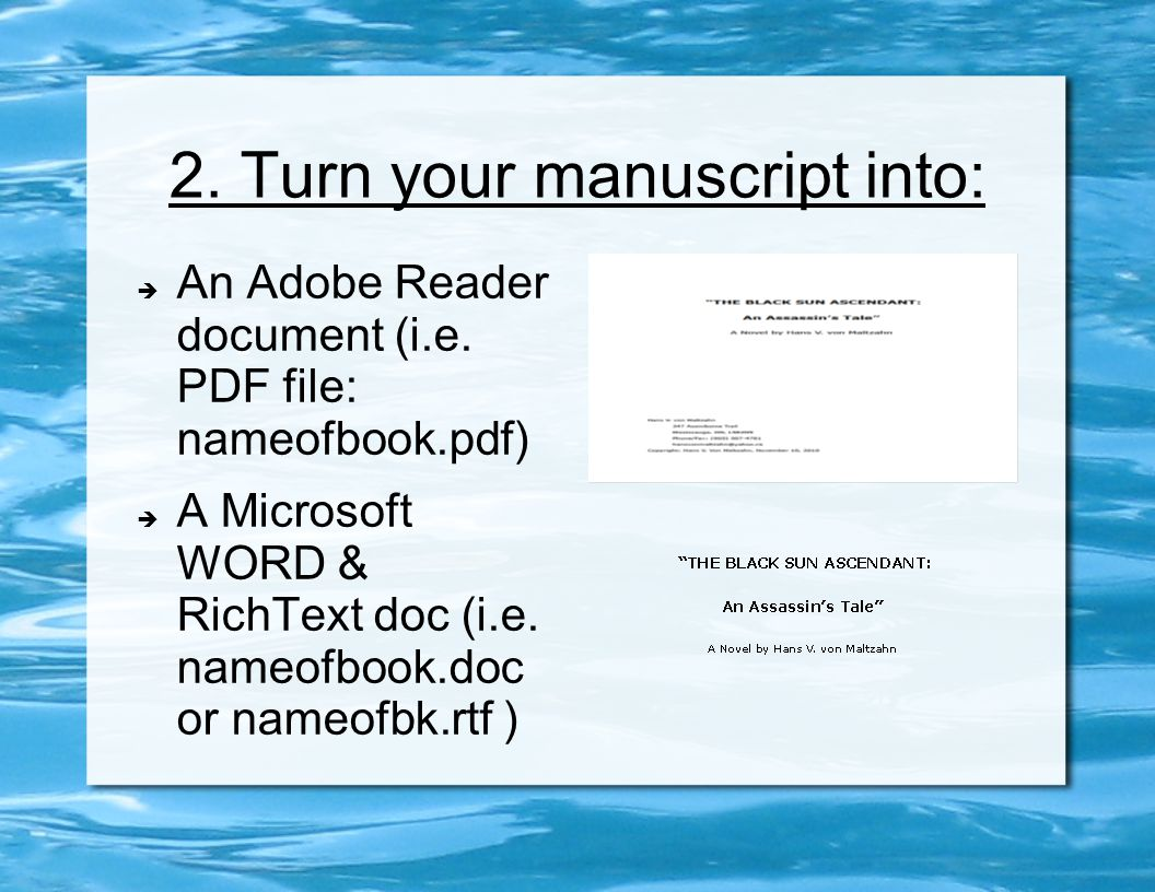 2. Turn your manuscript into:  An Adobe Reader document (i.e. PDF file: nameofbook.pdf)  A Microsoft WORD & RichText doc (i.e. nameofbook.doc or nam