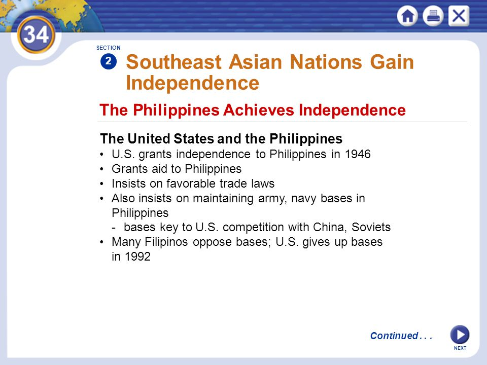 NEXT The Philippines Achieves Independence Southeast Asian Nations Gain Independence The United States and the Philippines U.S.