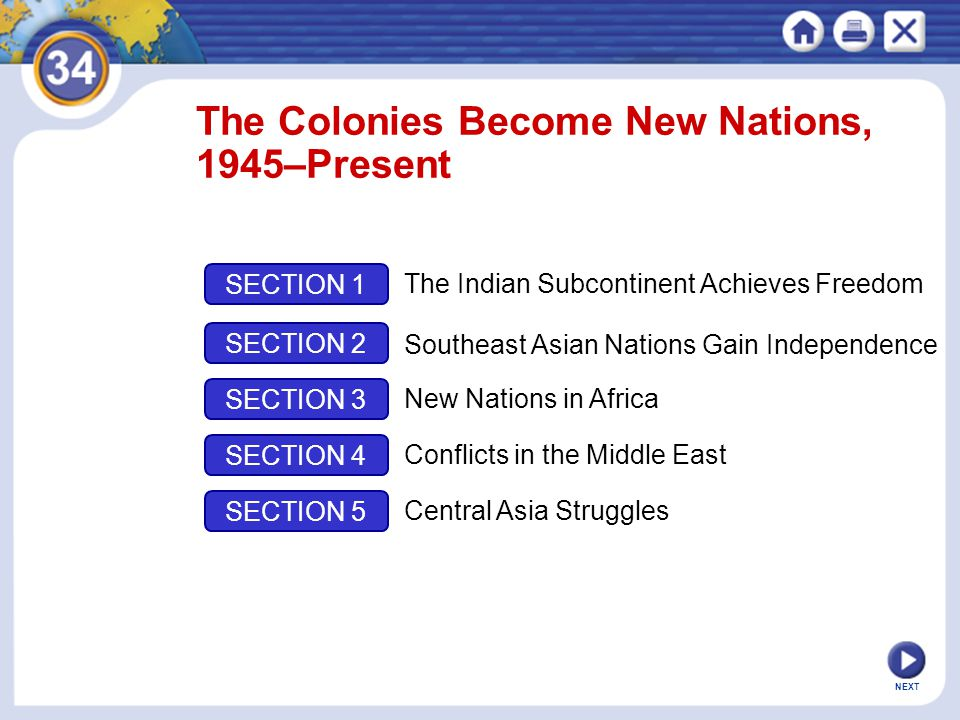 NEXT Section 1 The Indian Subcontinent Achieves Freedom New nations emerge from the British colony of India.