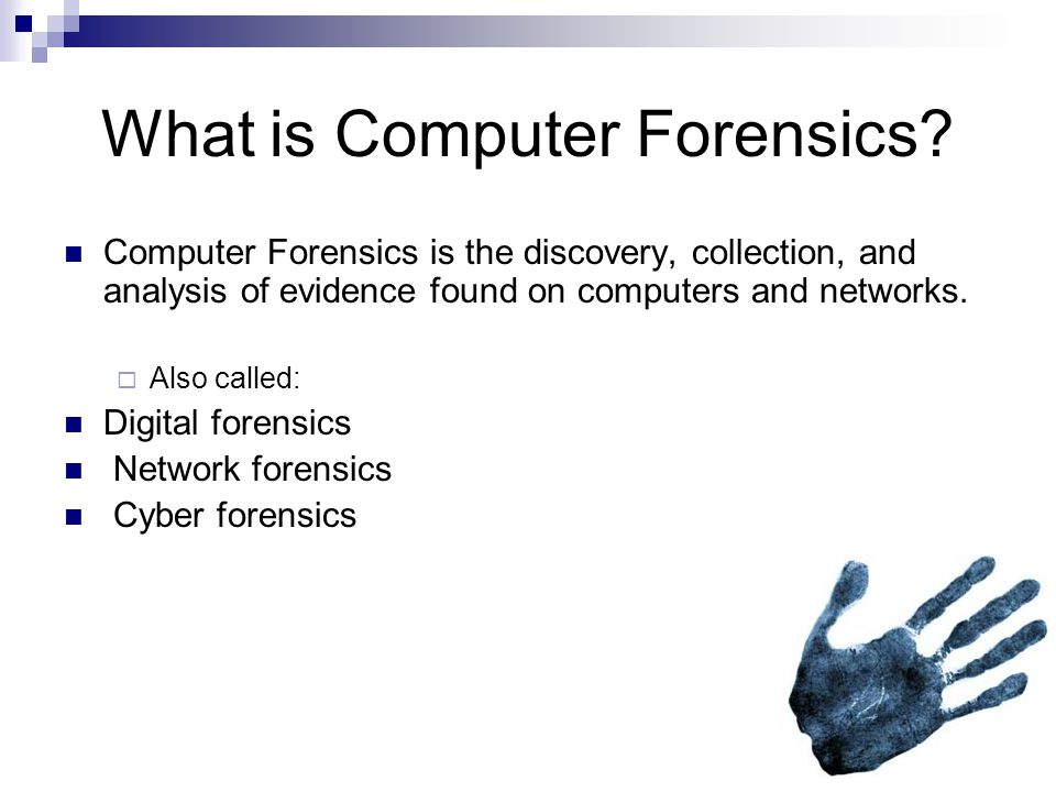 Broad Examples Computer Forensics is helpful in the process of solving crimes.