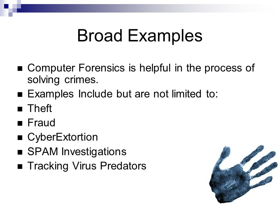 Specific Examples An Employee in question for misusing the provided internet usage for illegal activity A Hard disk found in a high threat zone such as an assassin s home.