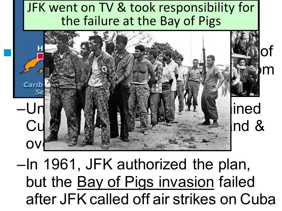Cuba: The Bay of Pigs Invasion ■In 1959, Fidel Castro gained control of Cuba, seized property, & took aid from Khrushchev in the Soviet Union –Under E