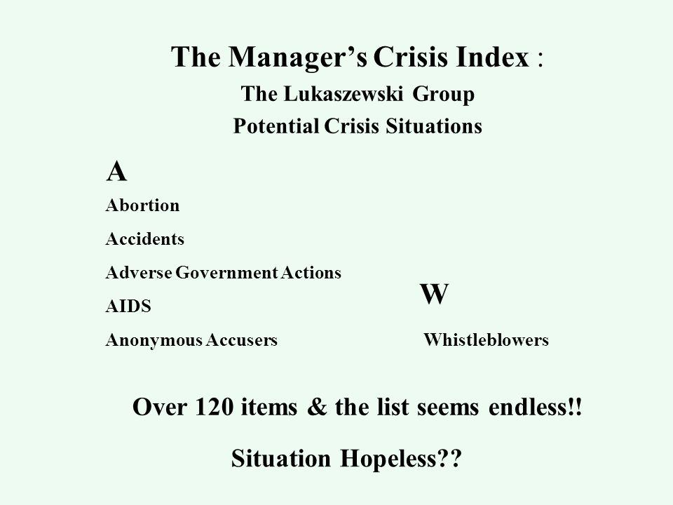 1. Crisis Types 1. Crisis Risks