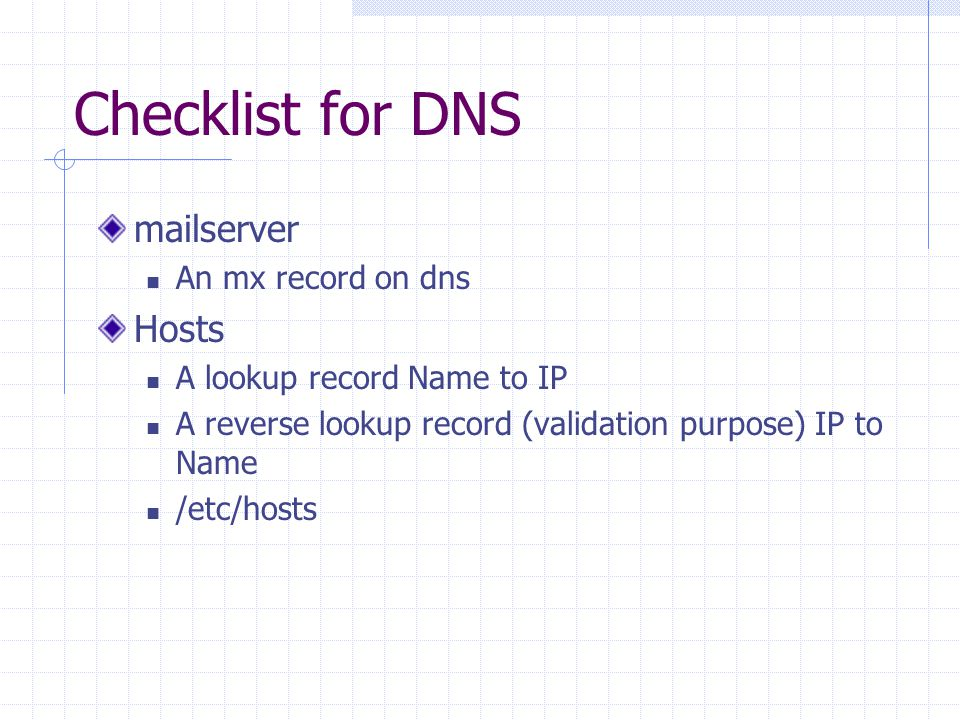 Checklist for DNS mailserver An mx record on dns Hosts A lookup record Name to IP A reverse lookup record (validation purpose) IP to Name /etc/hosts