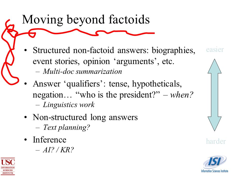 Moving beyond factoids Structured non-factoid answers: biographies, event stories, opinion 'arguments', etc.