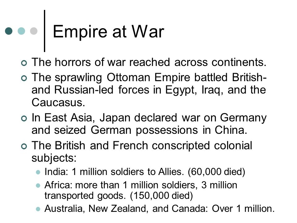 Empire at War The horrors of war reached across continents. The sprawling Ottoman Empire battled British- and Russian-led forces in Egypt, Iraq, and t