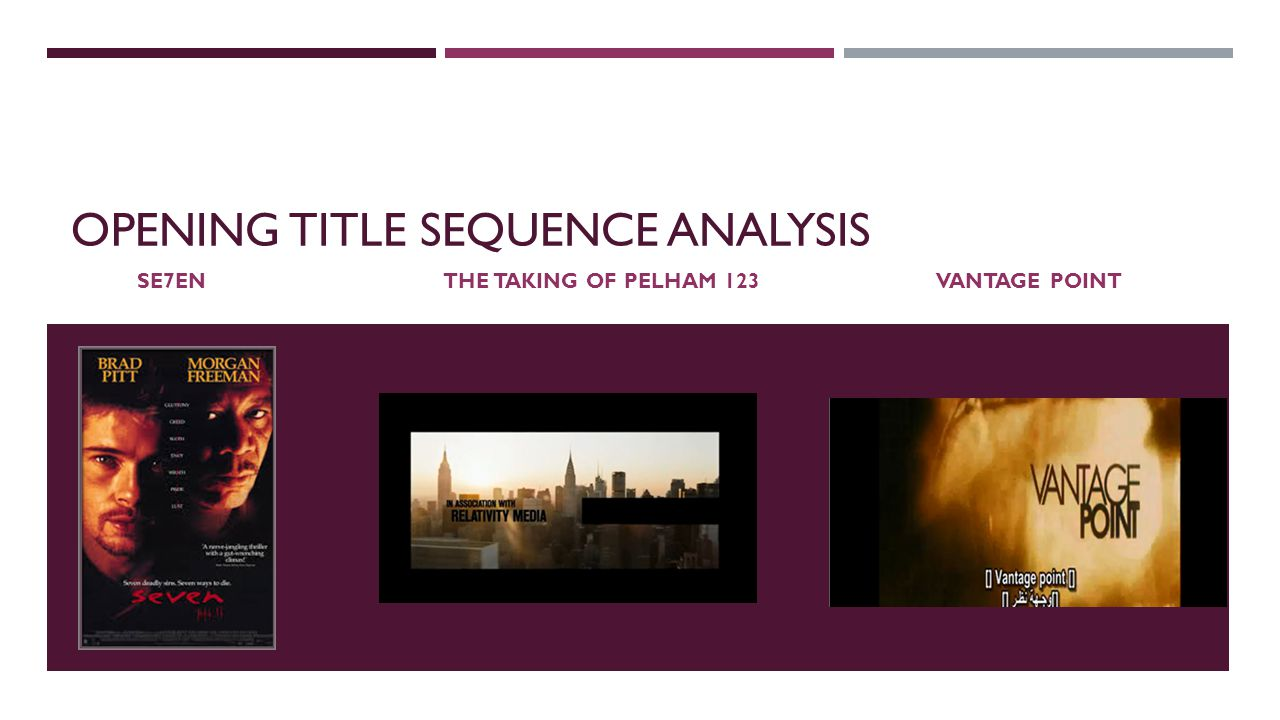 OPENING TITLE SEQUENCE ANALYSIS SE7EN THE TAKING OF PELHAM 123 VANTAGE POINT