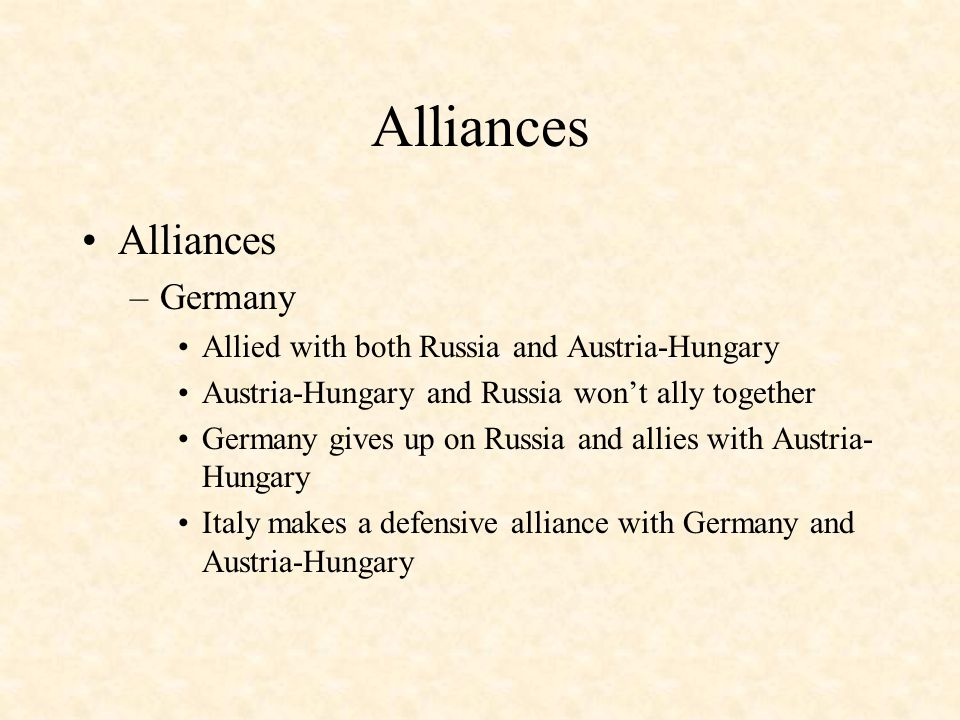 Alliances (International Anarchy) No organization exists to help nations settle their disputes peacefully Alliances –There was a complicated system of alliances through out Europe