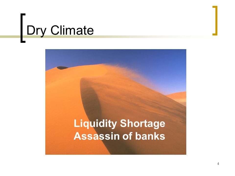 4 Dry Climate Liquidity Shortage Assassin of banks