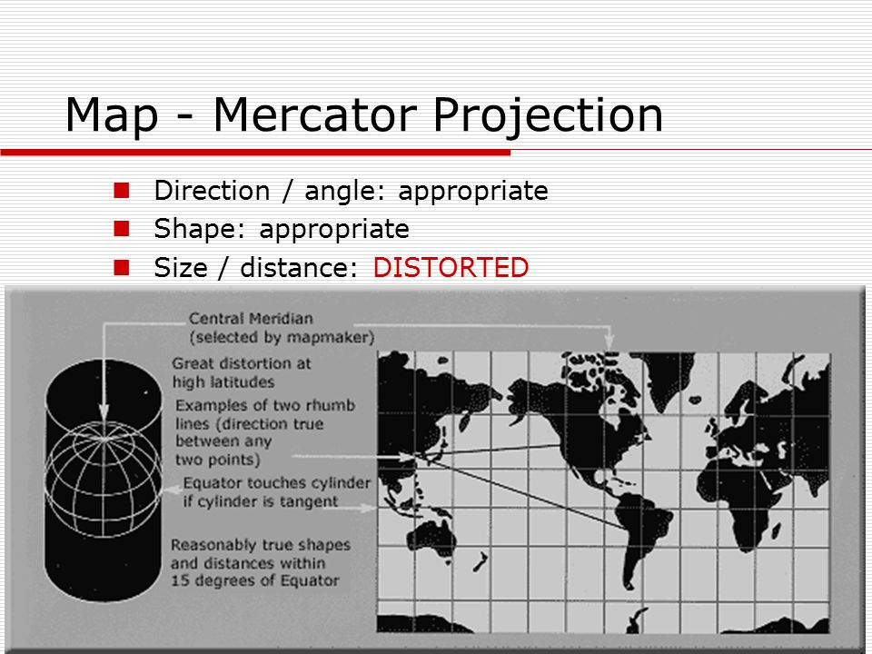 Map - Mercator Projection Direction / angle: appropriate Shape: appropriate Size / distance: DISTORTED