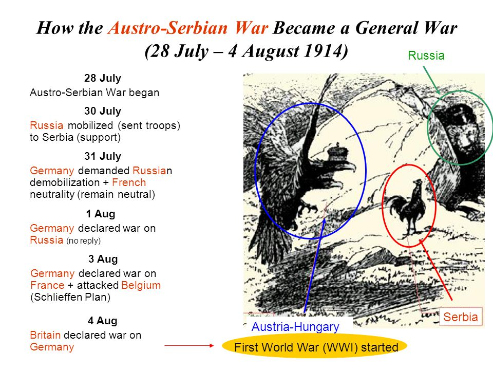 Results of Sarajevo Incident (28 June, 1914) Austria-Hungary Got the promise of unlimited support from Germany (early July 1914) Decided to crush Serbia in a war 23 July 1914, sent an ultimatum to Serbia Used Serbian refusal as an excuse to go to war with Serbia Serbia Arrested Princip Got an ultimatum from Austria-Hungary Accepted most of the terms in the ultimatum Refused to allow Austrian officials to enter Serbia (violate Serbian internal sovereignty) Austria-Hungary declared war on Serbia a month after the Sarajevo Incident Austro-Serbian War