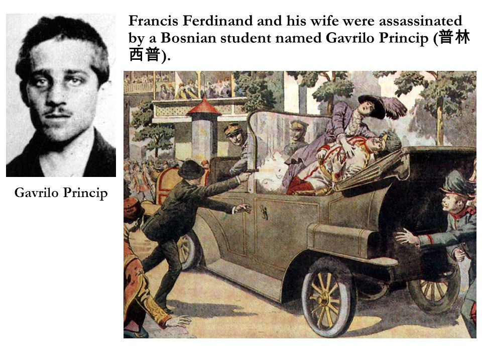 Francis Ferdinand and his wife were assassinated by a Bosnian student named Gavrilo Princip ( 普林 西普 ).