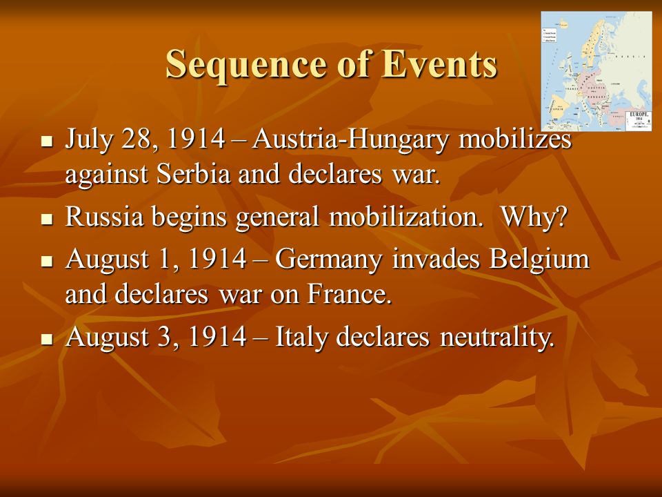 Sequence of Events July 28, 1914 – Austria-Hungary mobilizes against Serbia and declares war. July 28, 1914 – Austria-Hungary mobilizes against Serbia