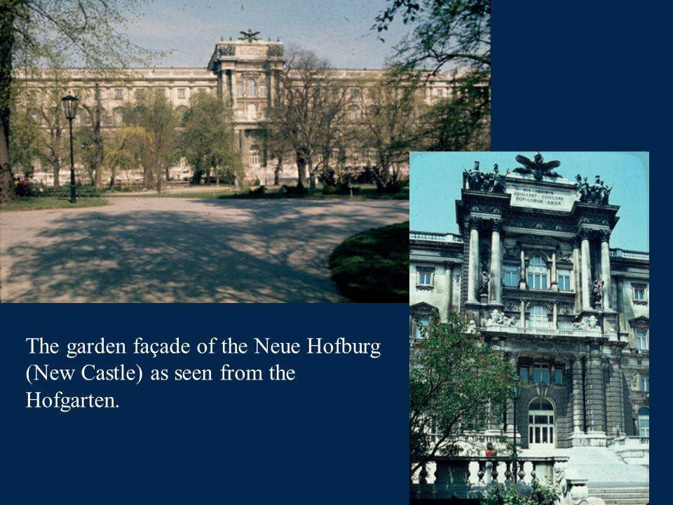 The garden façade of the Neue Hofburg (New Castle) as seen from the Hofgarten.