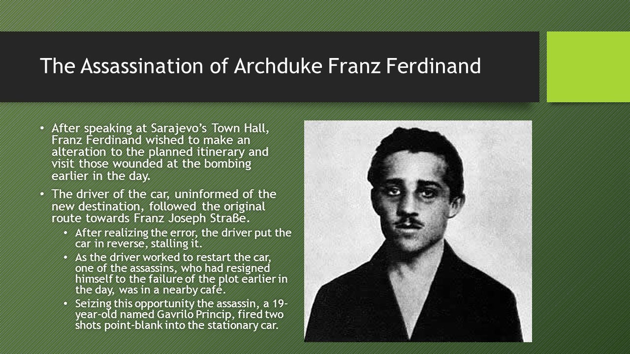 The Assassination of Archduke Franz Ferdinand As the car quickly reversed, a thin stream of blood spurted from His Highness s mouth onto my right cheek.