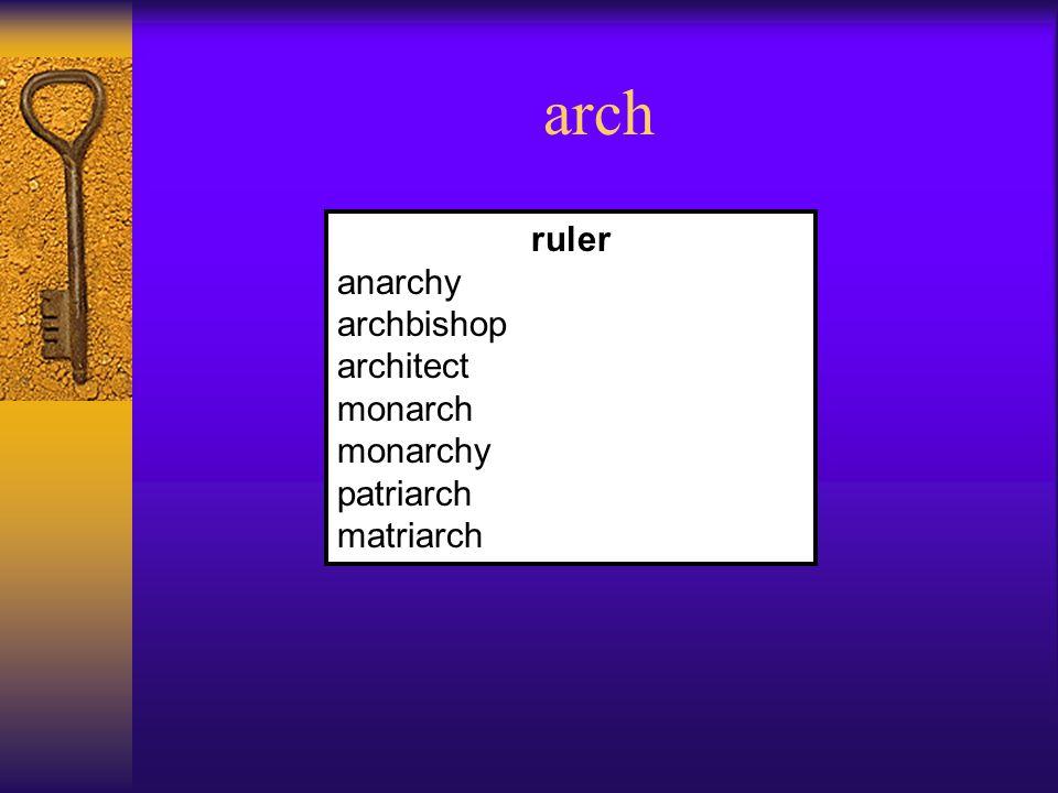 arch ruler anarchy archbishop architect monarch monarchy patriarch matriarch