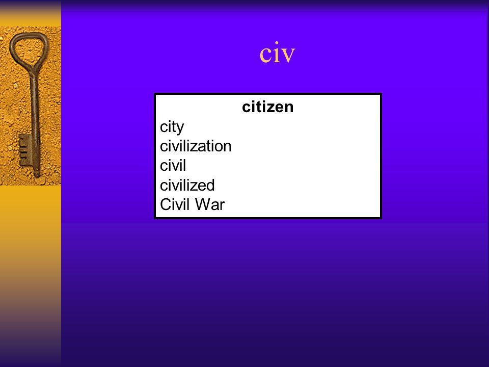 civ citizen city civilization civil civilized Civil War