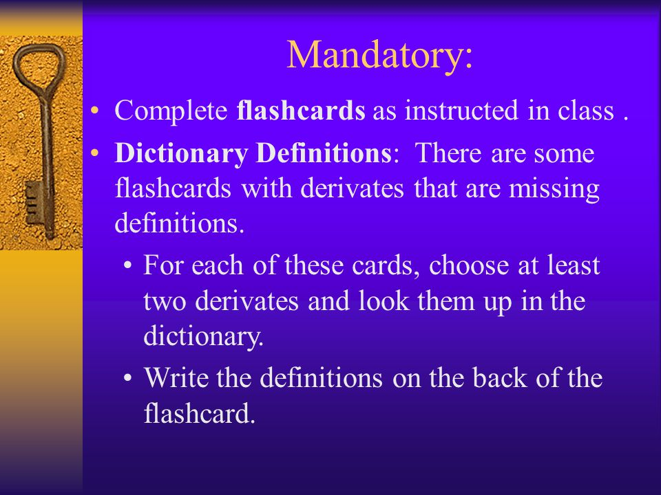 Complete flashcards as instructed in class.