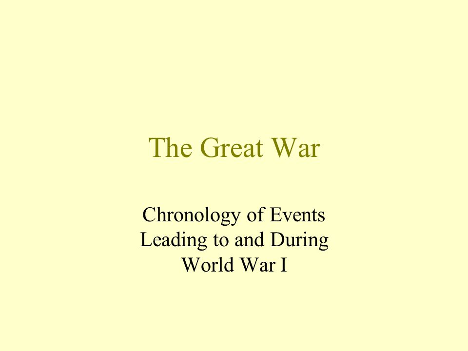 The Great War Chronology of Events Leading to and During World War I
