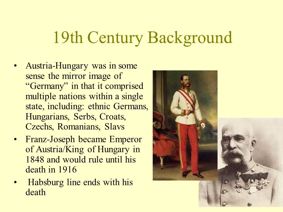 "Austria-Hungary was in some sense the mirror image of ""Germany"" in that it comprised multiple nations within a single state, including: ethnic Germans"