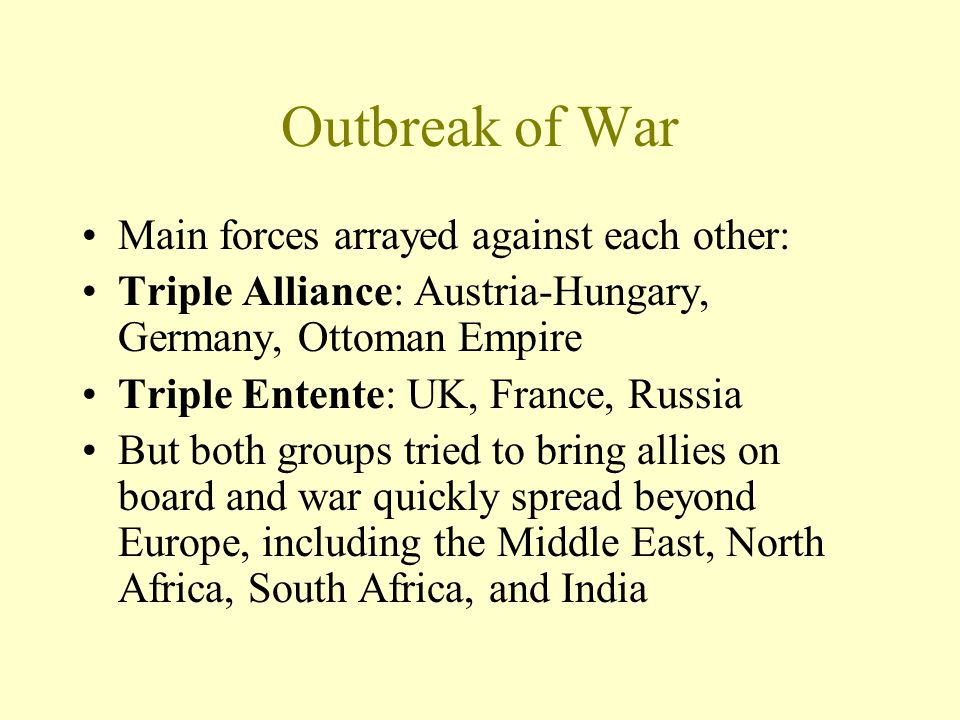Outbreak of War Main forces arrayed against each other: Triple Alliance: Austria-Hungary, Germany, Ottoman Empire Triple Entente: UK, France, Russia B