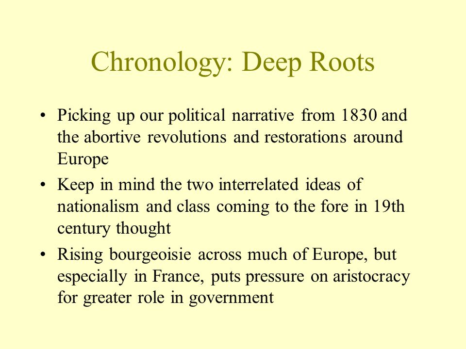 Chronology: Deep Roots Picking up our political narrative from 1830 and the abortive revolutions and restorations around Europe Keep in mind the two i