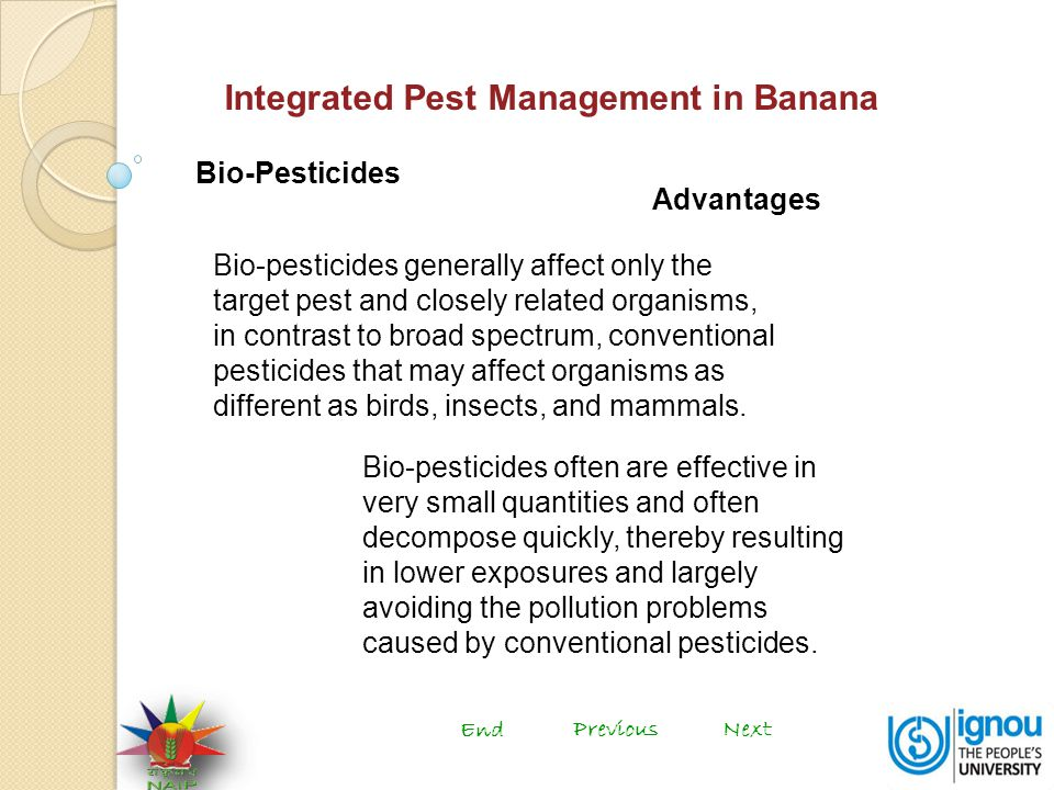 Integrated Pest Management in Banana Bio-Pesticides Bio-pesticides generally affect only the target pest and closely related organisms, in contrast to broad spectrum, conventional pesticides that may affect organisms as different as birds, insects, and mammals.
