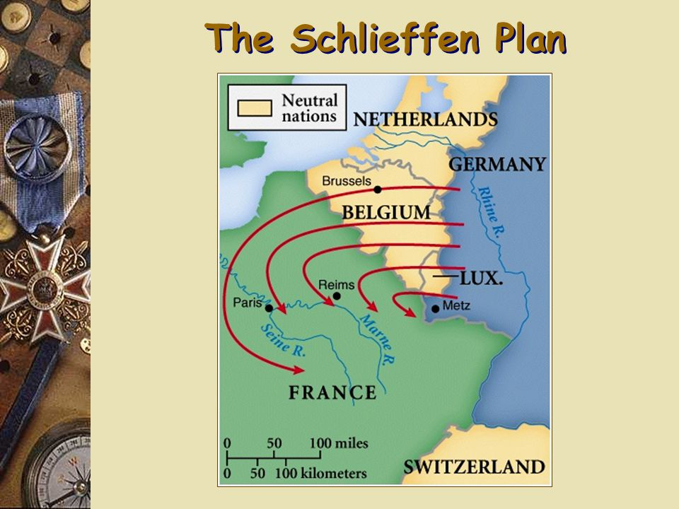 Four Steps to War Schlieffen Plan  General Alfred von Schlieffen  Deal with a potential 2-Front War  France is weak => Defeat 1 st  90% of the German Army  Based on assumption that Russia would be slow to mobilize #3