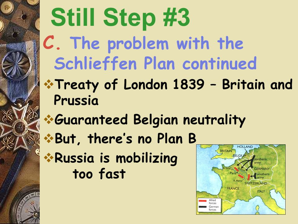 C. The problem with the Schlieffen Plan  Requires Germany to invade through neutral Belgium to get to Paris quickly Still Step #3 Belgium This is a h