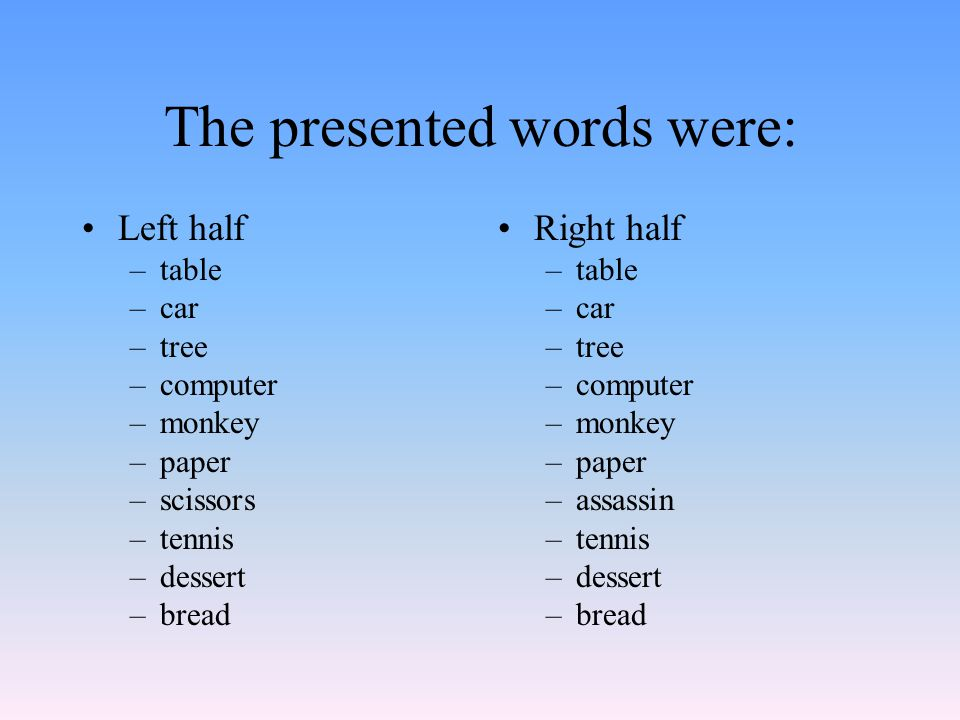 The presented words were: Left half –table –car –tree –computer –monkey –paper –scissors –tennis –dessert –bread Right half –table –car –tree –computer –monkey –paper –assassin –tennis –dessert –bread