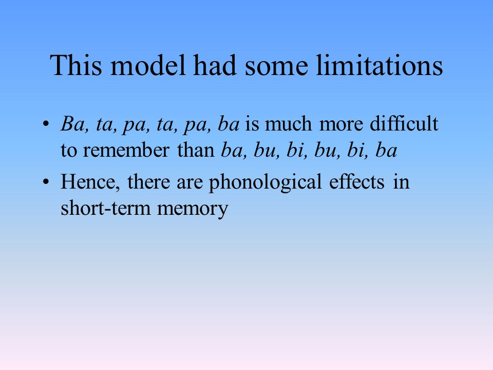 This model had some limitations Ba, ta, pa, ta, pa, ba is much more difficult to remember than ba, bu, bi, bu, bi, ba Hence, there are phonological effects in short-term memory