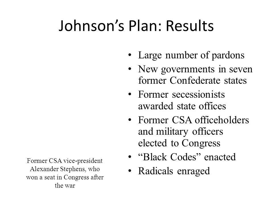 Johnson's Plan: Results Large number of pardons New governments in seven former Confederate states Former secessionists awarded state offices Former CSA officeholders and military officers elected to Congress Black Codes enacted Radicals enraged Former CSA vice-president Alexander Stephens, who won a seat in Congress after the war