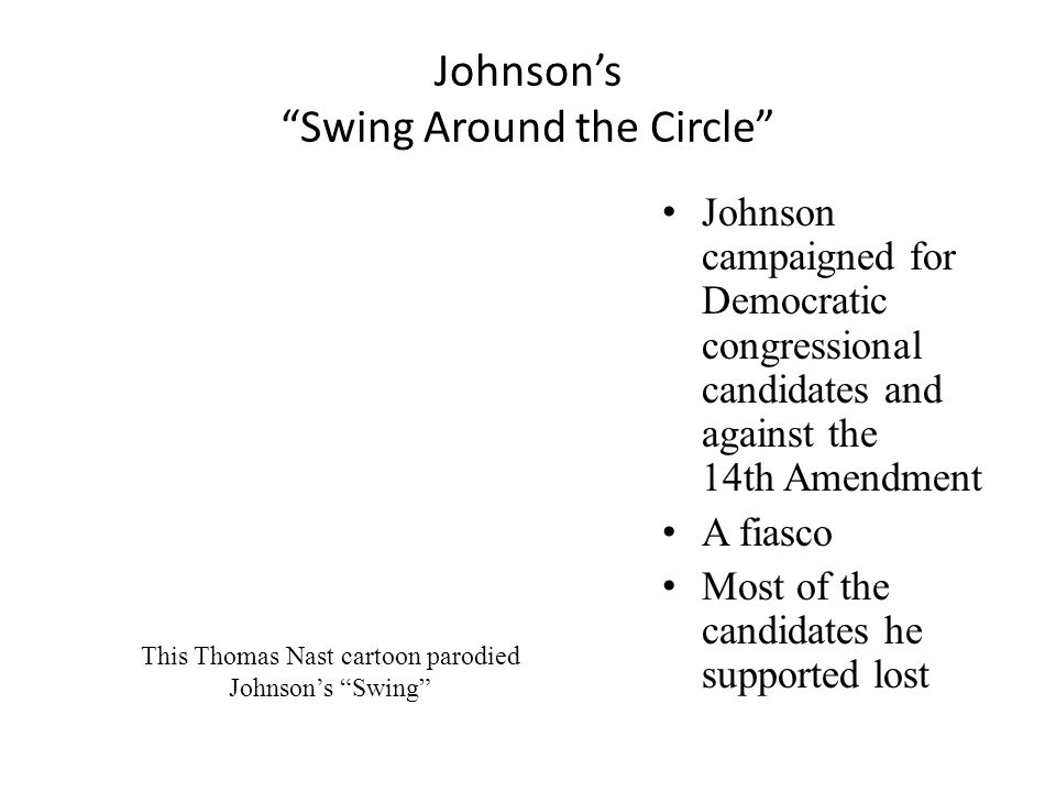 Johnson's Swing Around the Circle Johnson campaigned for Democratic congressional candidates and against the 14th Amendment A fiasco Most of the candidates he supported lost This Thomas Nast cartoon parodied Johnson's Swing