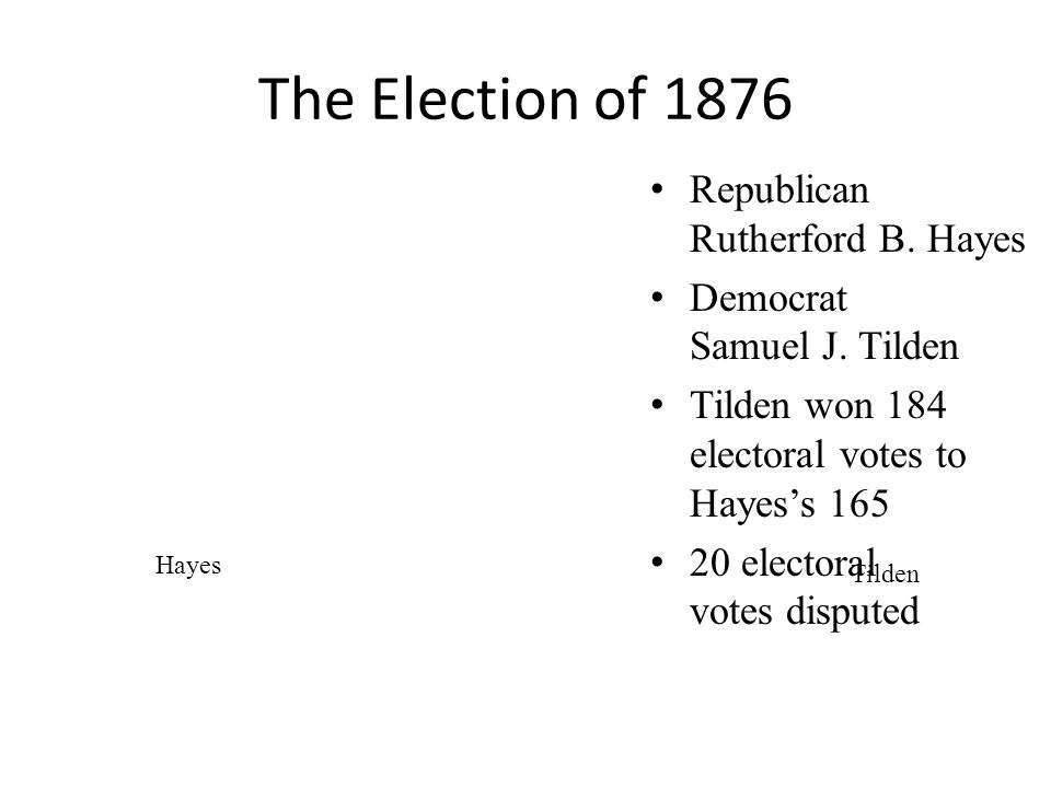 The Election of 1876 Republican Rutherford B. Hayes Democrat Samuel J.