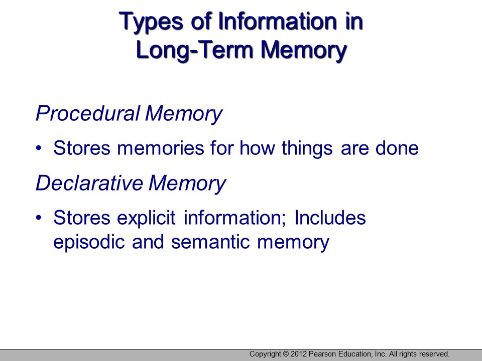 Copyright © 2012 Pearson Education, Inc. All rights reserved. Types of Information in Long-Term Memory Procedural Memory Stores memories for how thing