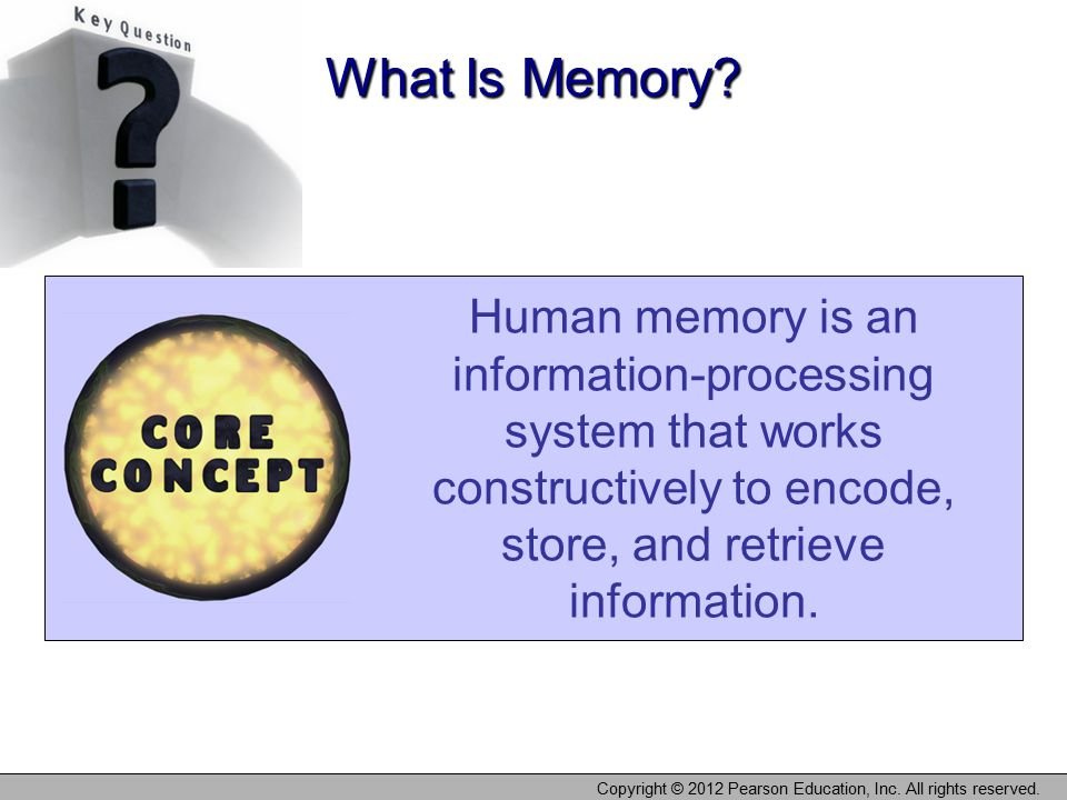 Copyright © 2012 Pearson Education, Inc. All rights reserved. Human memory is an information-processing system that works constructively to encode, st